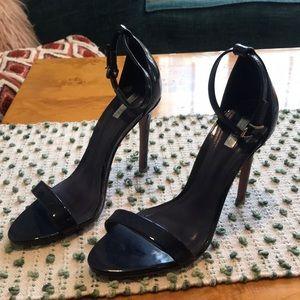 Schutz Navy Patent Leather Heeled Sandals 6